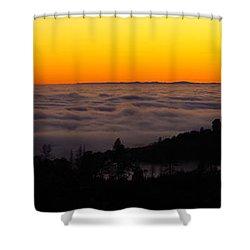 Valley Fog Twilight Shower Curtain