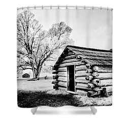 Shower Curtain featuring the photograph Valley Forge Winter Troops Hut                           by Paul W Faust - Impressions of Light