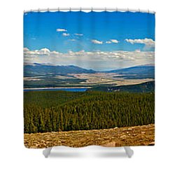 Valley Of 14ers Panorama Shower Curtain by Jeremy Rhoades