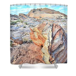 Valley Of Fire Alien Boulder Shower Curtain by Ray Mathis