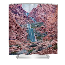 Valley Of Fire Drive Shower Curtain by Rae Tucker