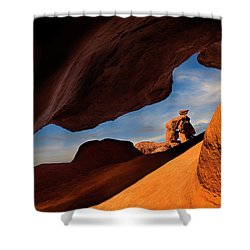 Valley Of Fire Look Through Shower Curtain by Gary Warnimont