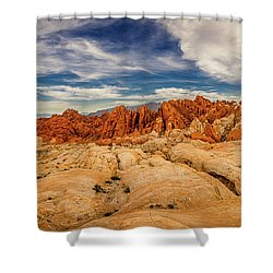 Shower Curtain featuring the photograph Valley Of Fire Panorama by Rikk Flohr