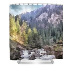 Valley Of Light And Shadow Shower Curtain by Jeffrey Kolker