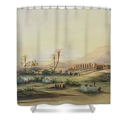 Valley Of The Nile With The Ruins Of The Temple Of Seti I Shower Curtain by Prosper Georges Antoine Marilhat