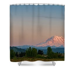 Valley Sunset Of Mt Rainier Shower Curtain by Ken Stanback