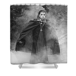 Vampire In The Fog Shower Curtain by Barbara West