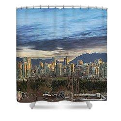 Van City Sunrise Shower Curtain by David Gn