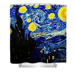 Van Gogh Starry Night  Shower Curtain by Scott D Van Osdol