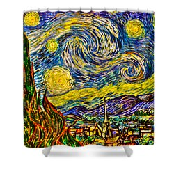 Van Gogh's 'starry Night' - Hdr Shower Curtain by Randy Aveille