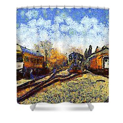 Van Gogh.s Train Station 7d11513 Shower Curtain