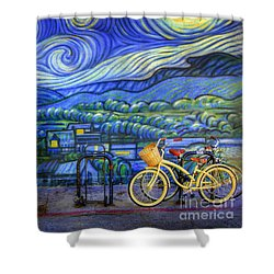 Van Gogh's Yellow And Green Bicycles Shower Curtain