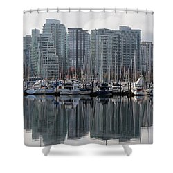 Vancouver Bc - Boats And Condos Shower Curtain