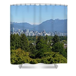 Vancouver Bc City Skyline From Queen Elizabeth Park Shower Curtain by David Gn