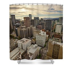 Vancouver Bc Cityscape Aerial View Shower Curtain by David Gn