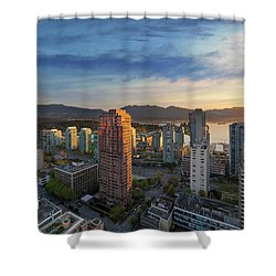 Vancouver Bc Cityscape At Sunset Shower Curtain by David Gn