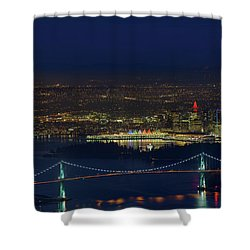 Vancouver Bc Cityscape By Lions Gate Bridge Shower Curtain