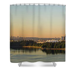 Vancouver Bc Cityscape By Stanley Park Morning View Shower Curtain by David Gn
