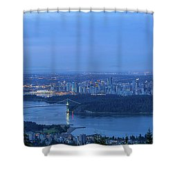 Vancouver Bc Cityscape During Blue Hour Dawn Shower Curtain by David Gn