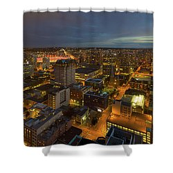 Vancouver Bc Cityscape During Evening Twilight Shower Curtain by David Gn