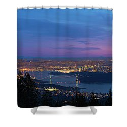 Vancouver Bc Cityscape Lions Gate Bridge Sunset Shower Curtain