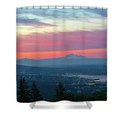 Vancouver Bc Cityscape With Cascade Range Morning View Shower Curtain by David Gn