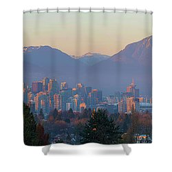 Vancouver Bc Downtown Cityscape At Sunset Panorama Shower Curtain