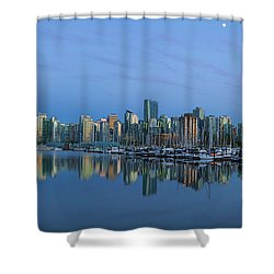 Vancouver Bc Skyline During Blue Hour Panorama Shower Curtain by David Gn