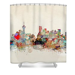 Shower Curtain featuring the painting Vancouver City Skyline by Bri B
