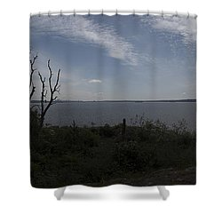 Vancouver From Afar Shower Curtain by Rod Wiens