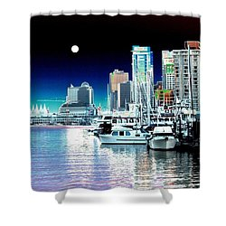 Vancouver Harbor Moonrise  Shower Curtain