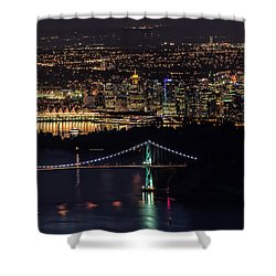 Vancouver Night From Cypress Mountain Shower Curtain