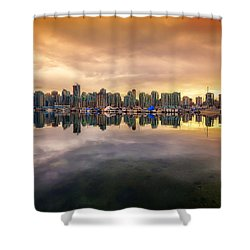 Shower Curtain featuring the photograph Vancouver Reflections by Eti Reid