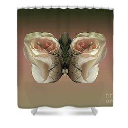 Vanilla Butterfly Rose Shower Curtain