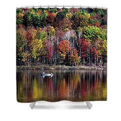 Vanishing Autumn Reflection Landscape Shower Curtain by Christina Rollo