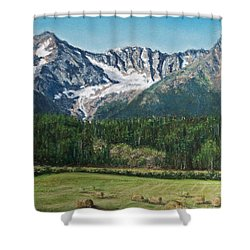 Shower Curtain featuring the painting Vanishing Glacier by Stanza Widen