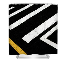 Shower Curtain featuring the photograph Vanishing Traffic Lines With Colorful Edge by Gary Slawsky