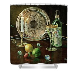 Vanitas Still Life By Candlelight With Les Bourgeois Wine Shower Curtain