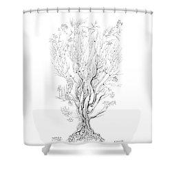 Variation On A Cayley Tree Shower Curtain by Regina Valluzzi