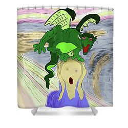 Shower Curtain featuring the digital art Variations On The Scream Or Photobombed By Puff by John Haldane