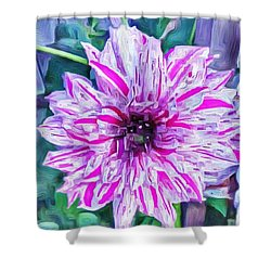 Variegated Dahlia In Oil Shower Curtain
