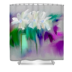 Shower Curtain featuring the digital art Vase And Blooms Abstract by Frank Bright