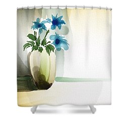 Vase In Light Shower Curtain by Frank Bright