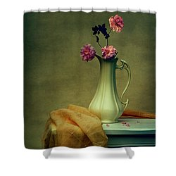 Vase Of Pink Roses Shower Curtain