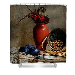 Vase With Basket Of Walnuts Shower Curtain