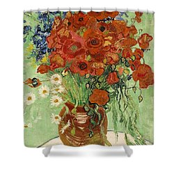 Shower Curtain featuring the painting Vase With Daisies And Poppies by Van Gogh