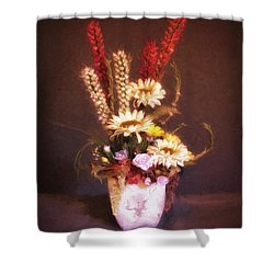 Shower Curtain featuring the photograph Vase With Flowers  ... by Chuck Caramella