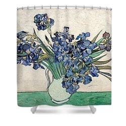 Shower Curtain featuring the painting Vase With Irises by Van Gogh