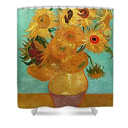 Shower Curtain featuring the painting Vase With Twelve Sunflowers by Van Gogh