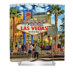 Shower Curtain featuring the photograph Vegasstrong by Michael Rogers